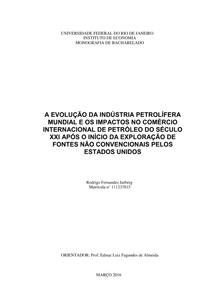 a evolução do comércio internacional do petroleo e os impactos no comércio internacional de petróleo do século XXI