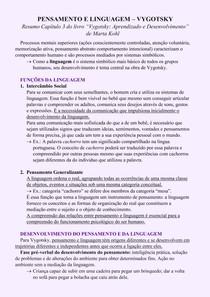 Pensamento e Linguagem Vygotsky (Resumo Cap 4 Livro Marta Kohl)
