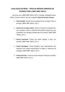 Avaliação de bens Tipos de imóveis urbanos de acordo com a ABNT NBR 14653-2