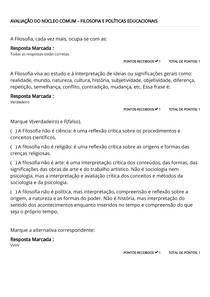 AVALIAÇÃO DO NÚCLEO COMUM – FILOSOFIA E POLÍTICAS EDUCACIONAIS