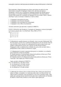 AVALIAÇÃO II DIDATICA E METODOLOGIA DO ENSINO DA LINGUA PORTUGUESA E LITERATURA