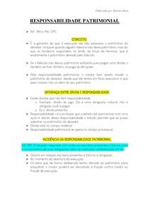RESPONSABILIDADE PATRIMONIAL - Processo Civil