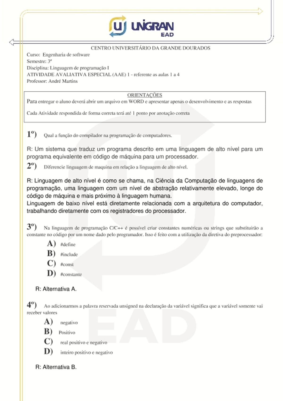 Pre-visualização do material Atividade Avaliativa Especial - Prova 1 CORRIGIDA 123_713 - página 1