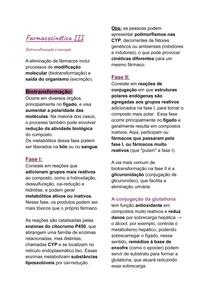 Farmacocinética III - Biotransformação e excreção
