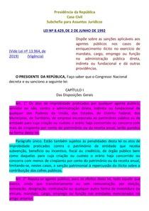 LEI Nº 8 429 1992 - LEI DE IMPROBIDADE