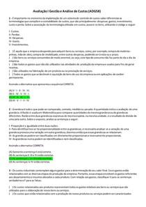 Avaliação I Gestão e Análise de Custos (ADG58)