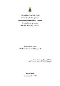 Tubo Venturi como medidor de vazão - Relatório completo