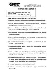 9.Estudo Dirigido GMV103 TRANSPORTE DE GAMETAS E FECUNDACAO 2011 PDF