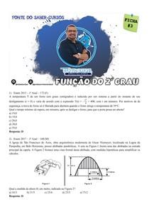 FICHA 3 DE QUESTÕES - FUNÇÃO DO 2o GRAU