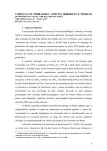 I - Histórico da formação de professores no Brasil - Saviani