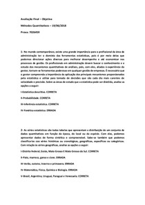 PROVA FINAL OBJETIVA DE MÉTODOS QUANTITATIVOS 19/06/2018 7026459