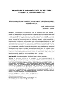 FATORES COMPORTAMENTAIS E CULTURAIS QUE IMPLICAM NA OCORRÊNCIA DE ACIDENTES DO TRABALHO