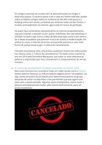 O que é cultura do cancelamento O que significa nos mundos real e digital docx