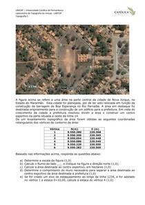 Unicap - Topografia 1- Exercícios - Coordenadas Áreas Exercício 21 (Labtopope)