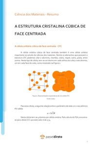 A estrutura cristalina cúbica de face centrada - Resumo