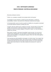 AVA1 - Motivação e Liderança - Renata Trindade