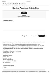 Avaliação On-Line 3 (AOL 1) - Questionário