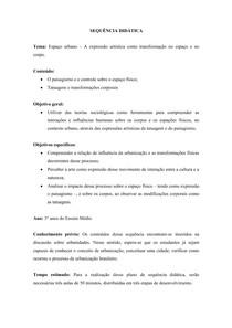Sequência didática - Espaço Urbano - Sociologia - 3º ano Ensino Médio