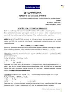 Estequiometria 5 - reagente em excesso - exemplos e lista de exercícios (Prof Brasil)