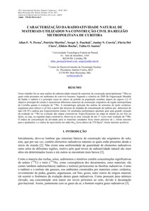 RADIOATIVIDADE NATURAL EM MATERIAIS DE CONSTRUÇÃO EM CURITIBA