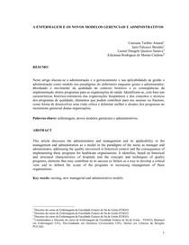 A ENFERMAGEM E OS NOVOS MODELOS GERENCIAIS E ADMINISTRATIVOS