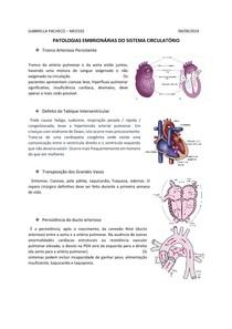Patologias Embrionárias do Sistema Circulatório