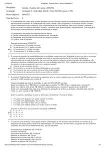 Avaliação I- Individual Gestão e Analise de Custo
