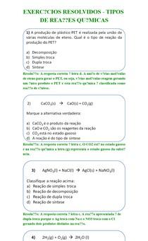 EXERCÍCIOS RESOLVIDOS - TIPOS DE REAÇÕES QUÍMICAS