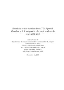 Solutions to the exercises from T M Apostol Calculus, vol 1 - 3