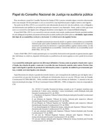 Papel do Conselho Nacional de Justiça na auditoria pública