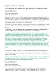 FILOSOFIA PLANO DE AULA 1 A 9