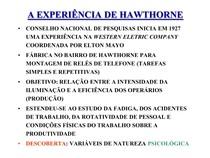 3Relações Humanas - Hawthorne