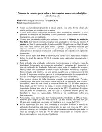 Normas de conduta dos matriculados em ADMINISTRAÇAO
