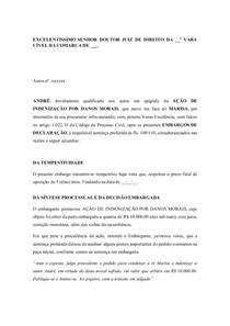 MODELO EMBARGOS DE DECLARAÇÃO CÍVEL