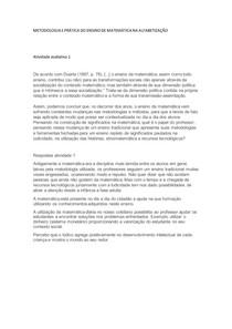 ATIVIDADE AVALAITIVA 1 E 3 METODOLOGIA E PRATICA DO ENSINO DE MATEMÁTICA NA ALFABETIZAÇÃO a