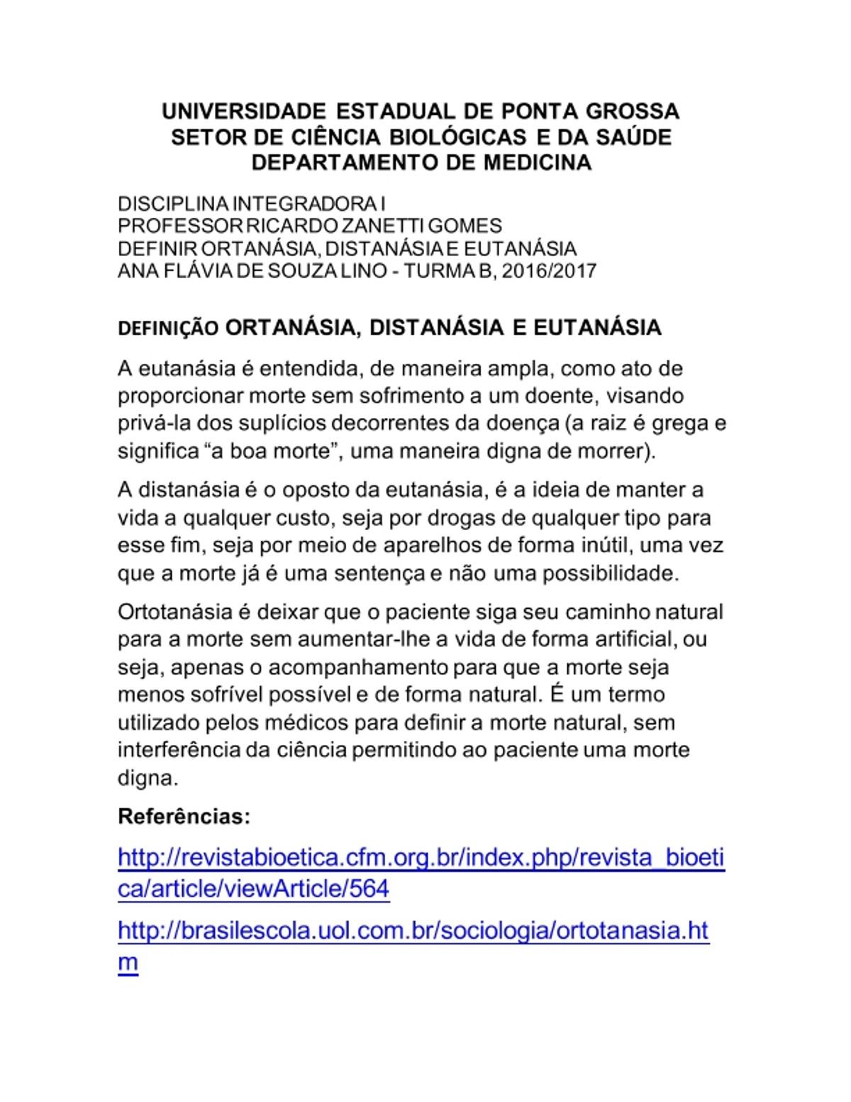 Pre-visualização do material Ortotanasia Distanasia e Eutanasia - página 1