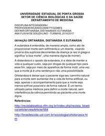 Ortotanasia Distanasia e Eutanasia