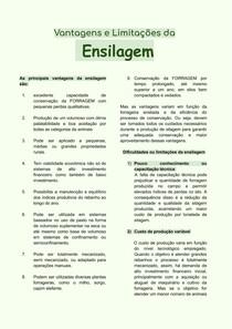 ENSILAGEM- VANTAGENS E DESVANTAGENS