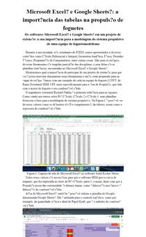 Microsoft Excel® e Google Sheets®: a importância das tabelas na propulsão de foguetes