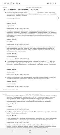 Questionário 2 Sociologia da educação