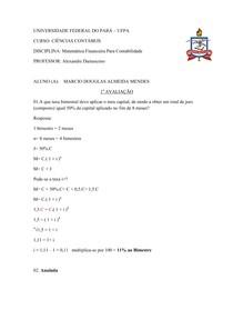 Prova resolvida Matemática financeira