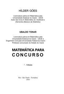 H lder Goes e Ubaldo Tonar   Matem tica para Concurso   7 Edi o   Ano 2004