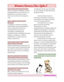 Primeiros Socorros - Cães e Gatos I