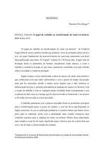O papel do trabalho na transformação do símio em homem Resenha