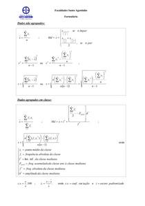 Fórmulas para dados agrupados e não agrupados