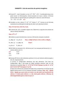 Lista Química Inorgânica com gabarito 2