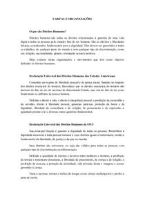 CARTAS, ORGANIZAÇÕES E DECLARAÇÕES UNIVERSAIS