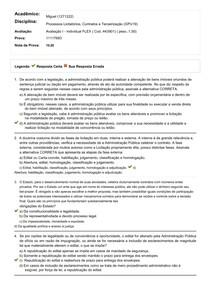 AVALIAÇÃO I PROCESSO LICITATÓRIO, CONTRATO E TERCEIRIZAÇÃO