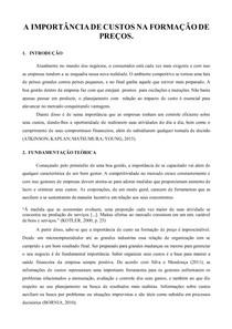 PAPER - A IMPORTANCIA DE CUSTOS NA FORMAÇÃO DE PREÇO