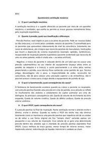 Questionário Ventilação Mecanica